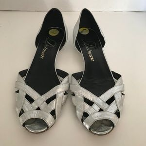 Metallic Silver Cut Out Flats Low Heel Sandals